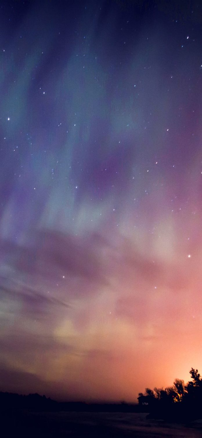 nn30-space-aurora-night-sky-red-color via iPhoneXpapers.com - Wallpapers for iPh...