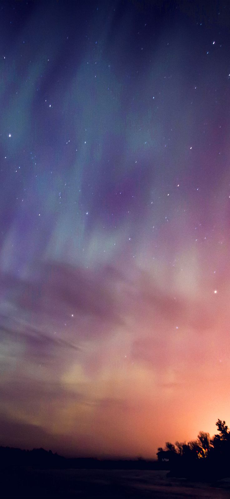 Iphone X Wallpaper Nn30 Space Aurora Night Sky Red Color