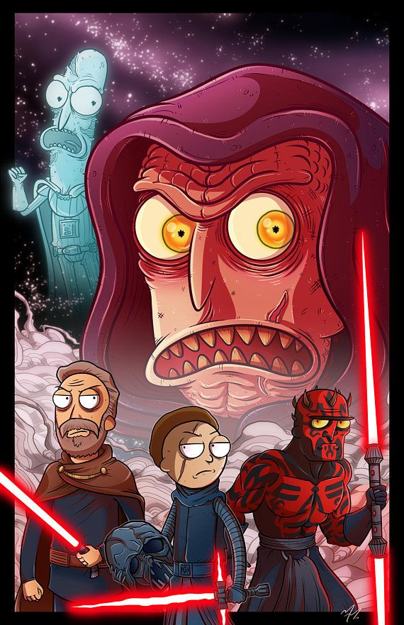 This is the 11 x 17 in. print of my Rick and Morty & Star Wars Sith Empire Cross...