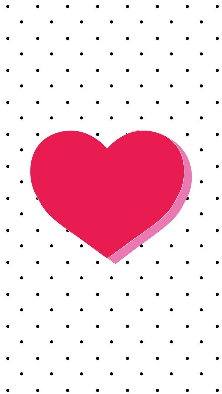 Valentines Wallpaper Black White Dots Spots Pink Heart