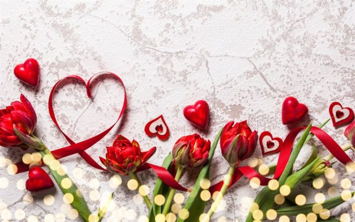 Download wallpapers Valentines Day, red hearts, red ribbons, red flowers, love c...