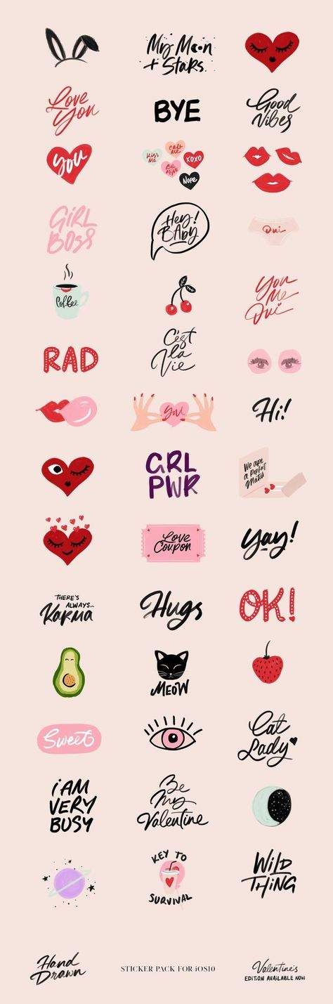 Hand Drawn Sticker Pack by Cocorrina | for iOS10, Valentine's Edition availa...