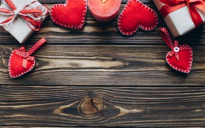 Télécharger fonds d'écran Le jour de Valentines, en bois, fond, février ...