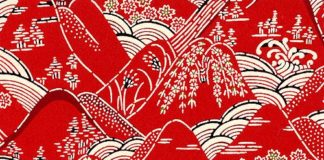 red hills, Japanese Paper Pattern