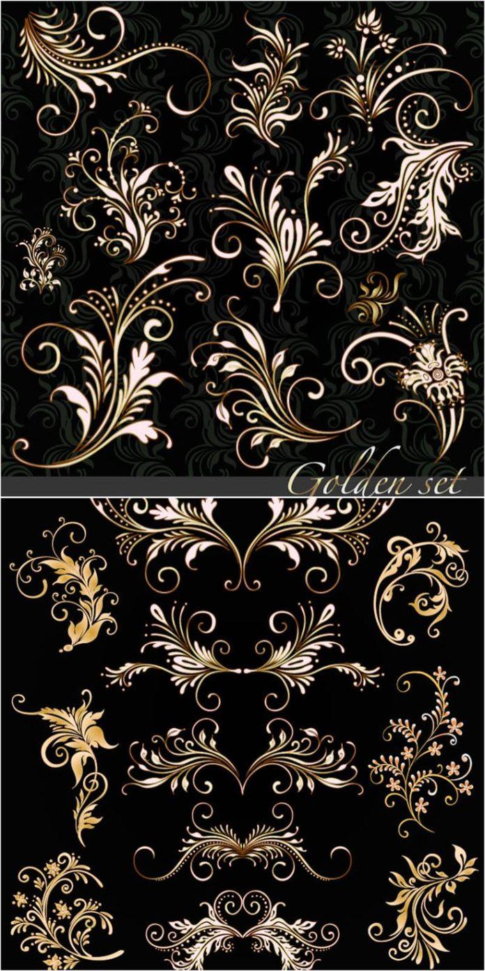 Golden floral ornaments vector