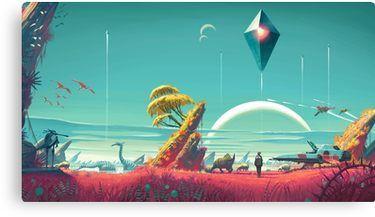 No Mans Sky -- Ship and Sky Canvas Print