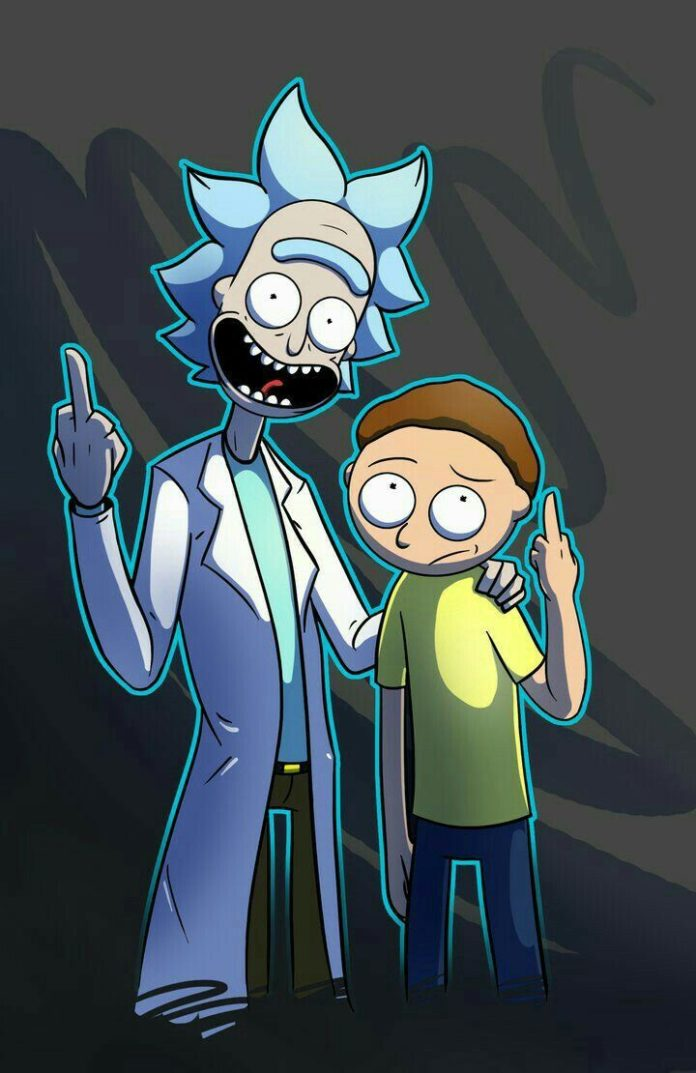 Rick and Morty flipping birds.