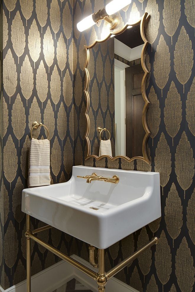 Golden metallic wallpaper Bathroom Powder room with Golden metallic wallpaper #G...