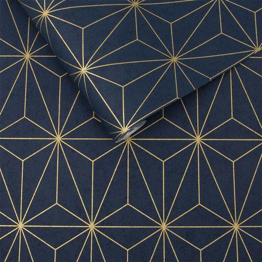 Papier Peint Prism Bleu Marine Et Or