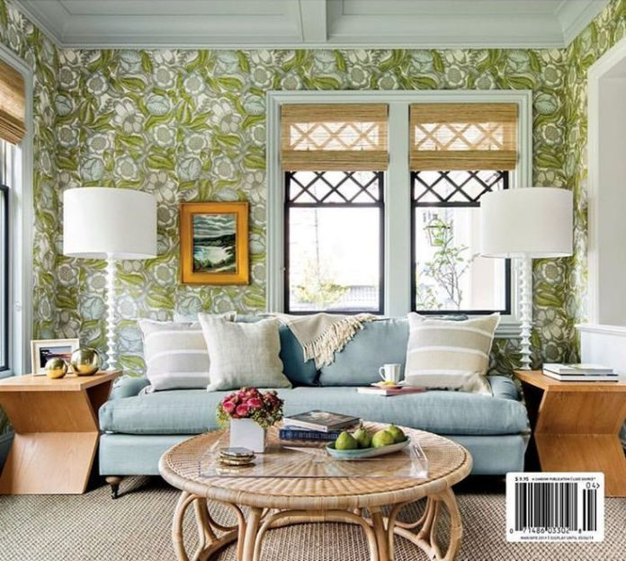 luxe magazine cover, blue and green, wallpaper, woven roman shades, bamboo table