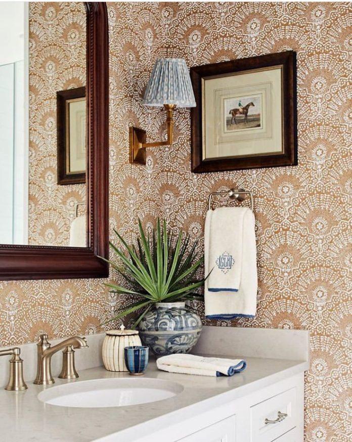 neutral patterned wallpaper