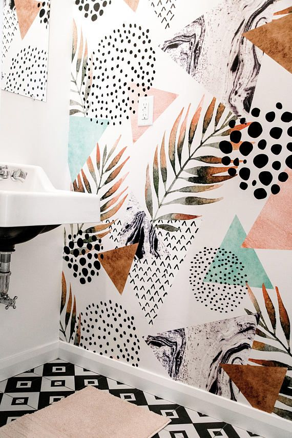 Abstract palm leaf wallpaper || Pastel colors || Peel and stick wallpaper || Removable wallpaper || Temporary wall mural #18