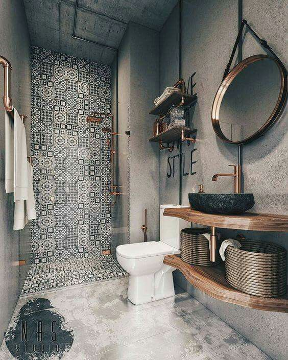 Bathroom: Concrete wallpaper , industrial copper fixings , funky black/white til...