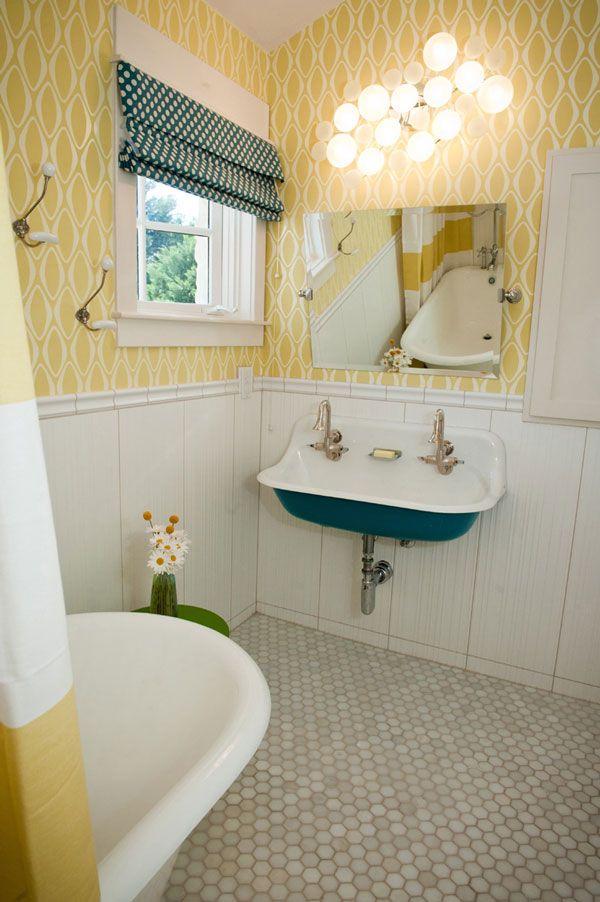 Citron Stripe Shower Curtain in a Vintage Modern Bathroom by Room Fu