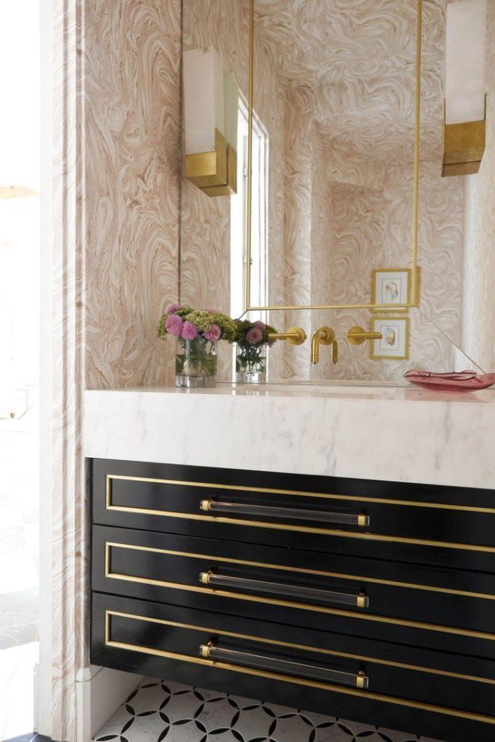 Pink marbled wallpaper! Bathroom Gallery - Robert Elliott Custom Homes