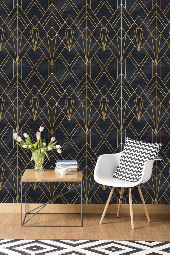 Removable Wallpaper Self Adhesive Wallpaper Gold and Black Geometric Peel & Stick Wallpaper
