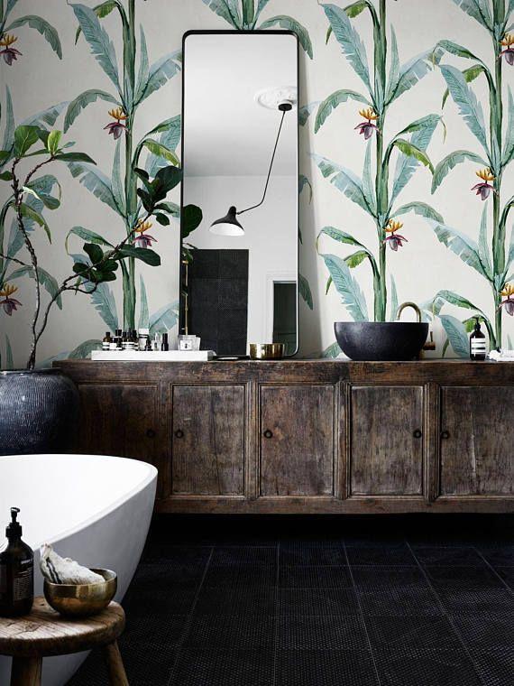 Removable wallpaper - Tropical Shurbs Wallpaper - Wall mural - Tropical Wallpaper - Self adhesive wallpaper - Temporary wallpaper #106
