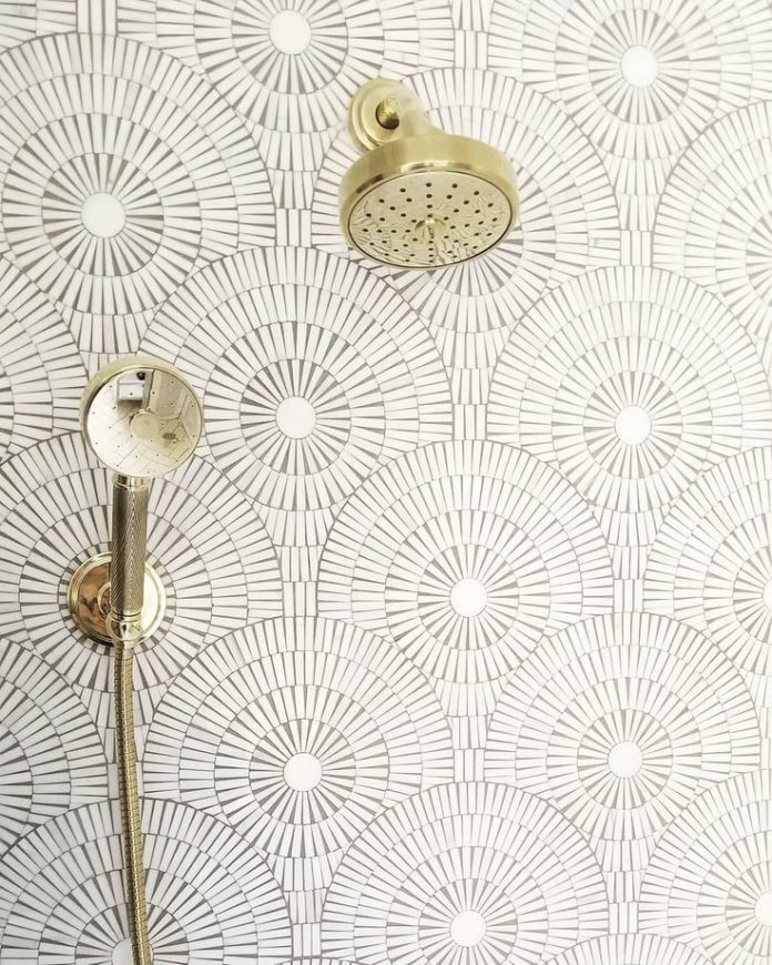 Soft gold hardware and Motor City Circles mosaic in Ice White adds some intricat...