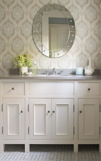 Wallpapers In A Bathroom - wallpaper like this for the half bath! Maybe with a p...