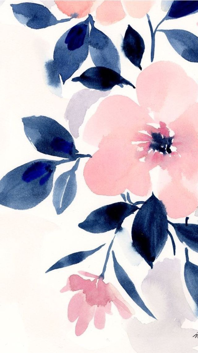 Iphone Wallpaper Pink And Navy Blue Girly Floral Iphone