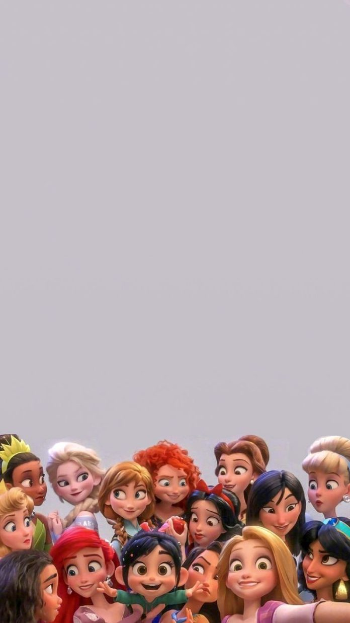 Vanellope with all the Disney princesses in