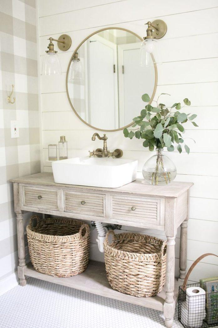 Farmhouse style guest bathroom
