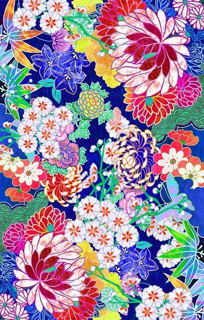 'Oriental flowers' by Elmira Amirova pink blue white orange lime green y...