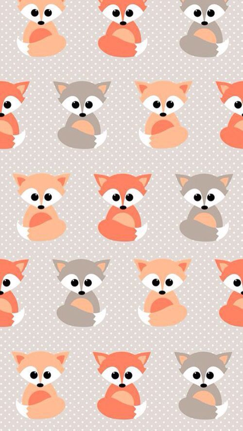 Baby Foxes pattern background. Tap to see more cute and beautiful iPhone wallpap...