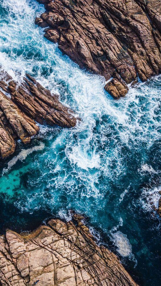 Coast, Channel, Sea Waves, Rocks, Aerial View, 720×1280 Wallpaper