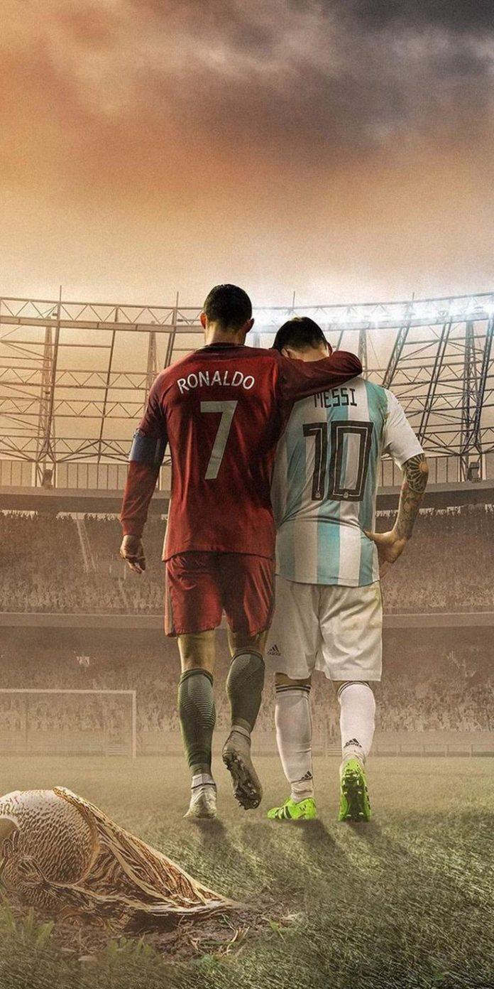 Soccer PinWire: Messi and Ronaldo Football iPhone Wallpaper   futbol   Pinterest...