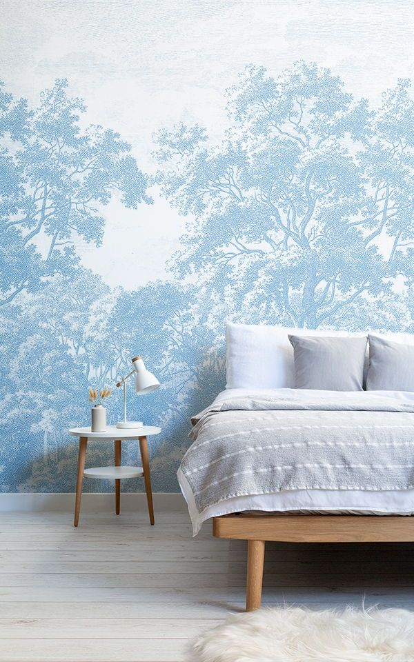 Blue Forest Illustration Etching Wallpaper Mural