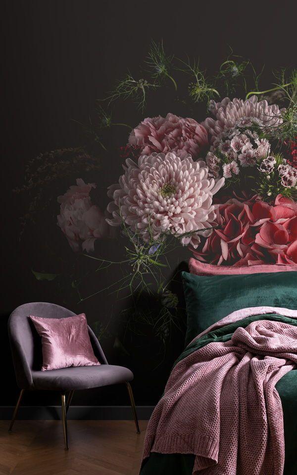 Dark Moody Floral Wallpaper Mural | Large Photographic Design