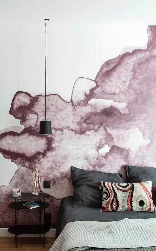 Dusty Pink Watercolour Wall Mural | Modern Mural Designs for Your Home by MuralsWallpaper