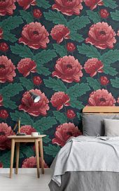 Dark Pink & Green Floral Wallpaper | Vintage Style | MuralsWallpaper