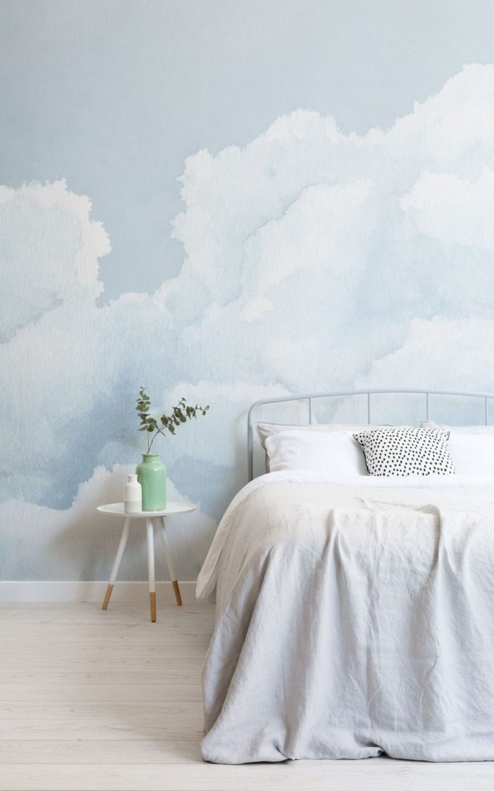Light Blue Cloudy Sky Watercolor Wallpaper Mural