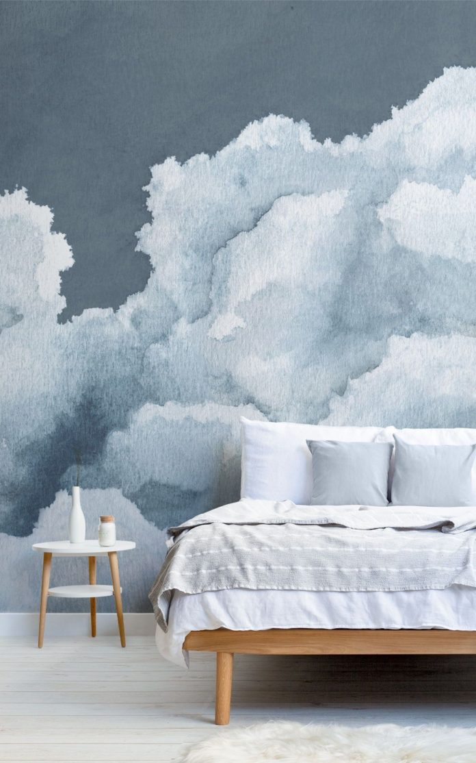 Dark Blue Cloudy Watercolor Sky Wallpaper Mural