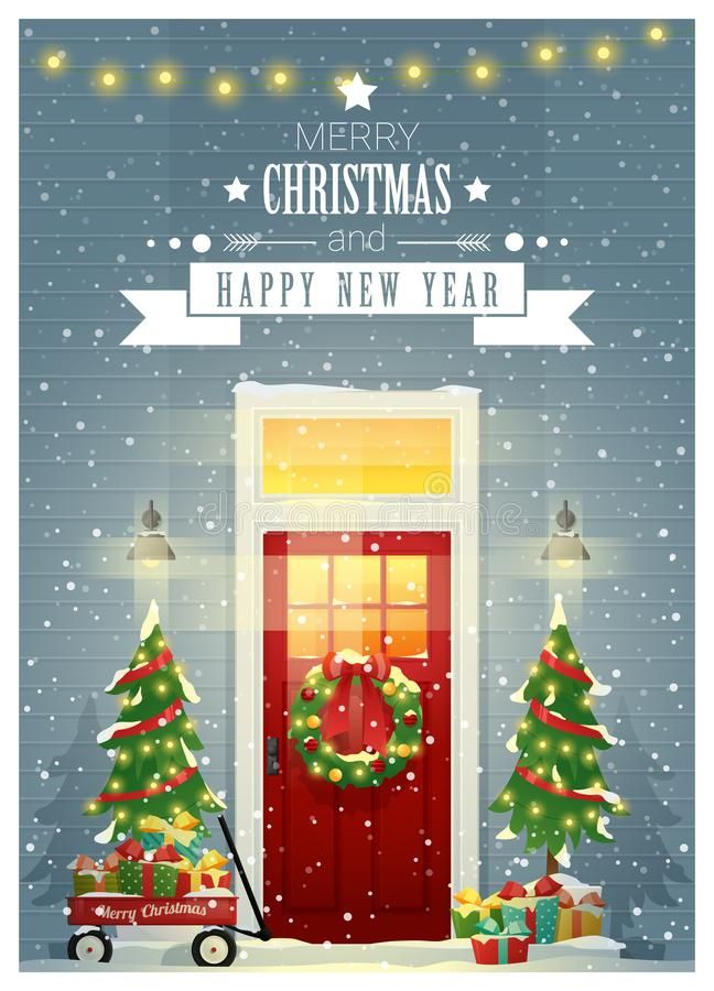 Merry Christmas And Happy New Year Background With Decorated Christmas Front Door Stock Vector - Illustration of gift, cart: 131606844