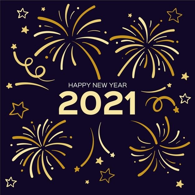 Happy New Year 2021 With Golden Fireworks