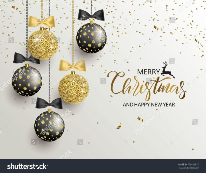 Merry Christmas Happy New Year Background Stock Vector (Royalty Free) 759456670