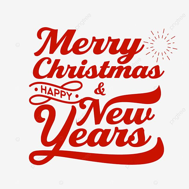 Typography Of Merry Christmas And Happy New Years, Greeting, Card, Typography PNG and Vector with Transparent Background for Free Download