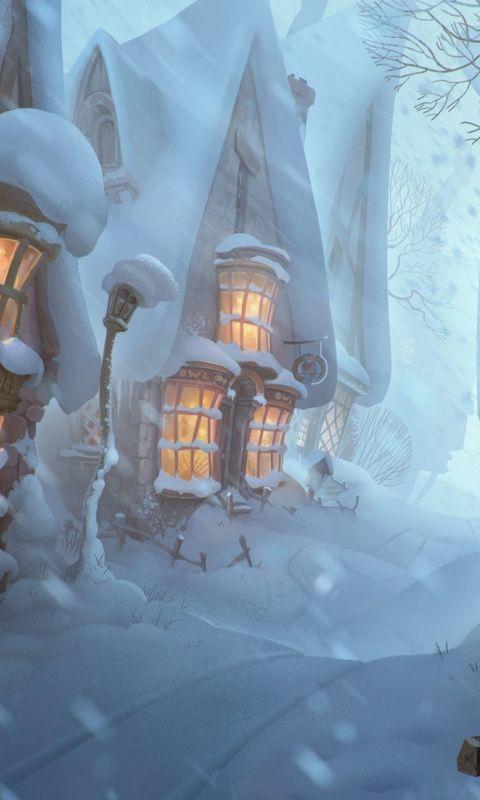 House, street, winter, 480x800 wallpaper