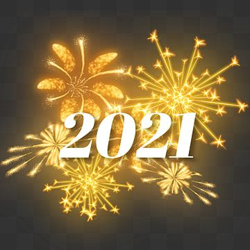 Happy New Year 2021 With Golden Blooming Fireworks, New Year, 2021, Fireworks PNG Transparent Clipart Image and PSD File for Free Download