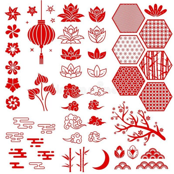 Chinese New Year Elements. Festive Oriental Asian Style. Red Cloud, Flowers And Moon, Bamboo And Sakura, Lotus Leaves Stock Vector - Illustration of china, asia: 162310923