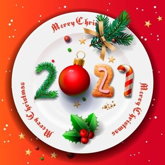 Merry Christmas And Happy New Year 2021, Christmas Plate