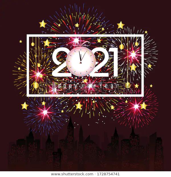 Image vectorielle de stock de Bonne année 2021 avec le feu 1728754741