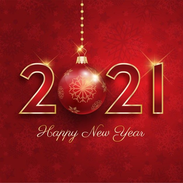 Download Happy New Year 2021 With Hanging Bauble for free