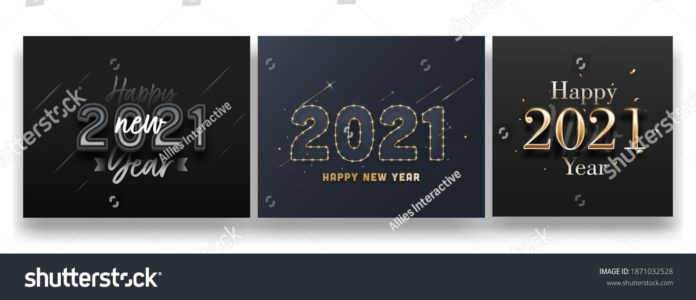 2021 Happy New Year Text On Black And Grey Background In Three Options.