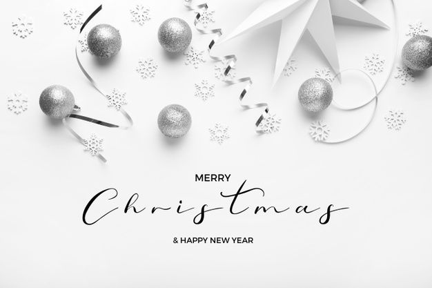 Download Merry Christmas And Happy New Years Greetins With Silver Tones On A White Elegant Background for free