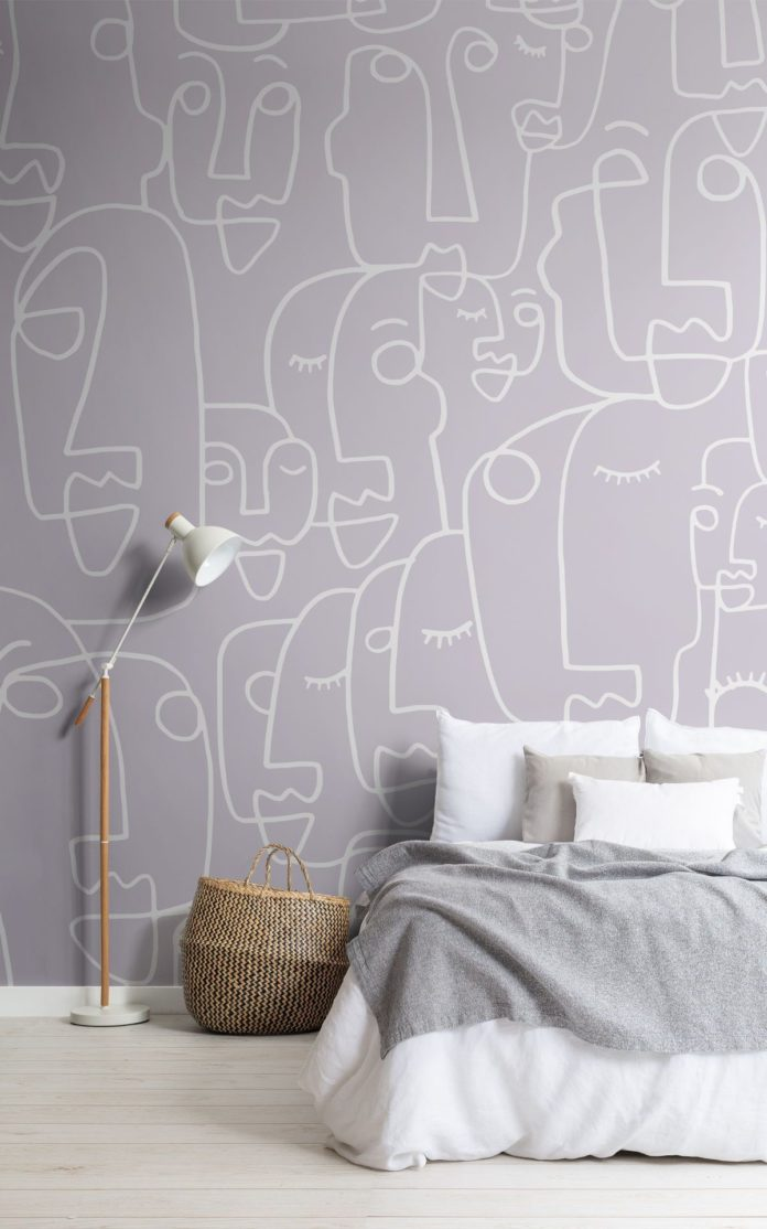 Large Lilac Face Line Drawing Wallpaper | Hovia