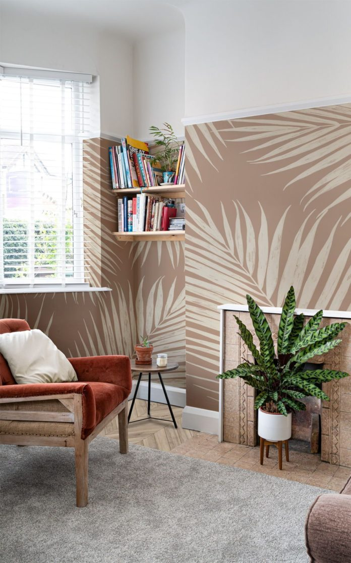 Neutral Illustrated Tropical Palm Leaf Mural | Hovia